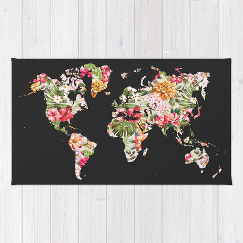Floral World Map Area Rug