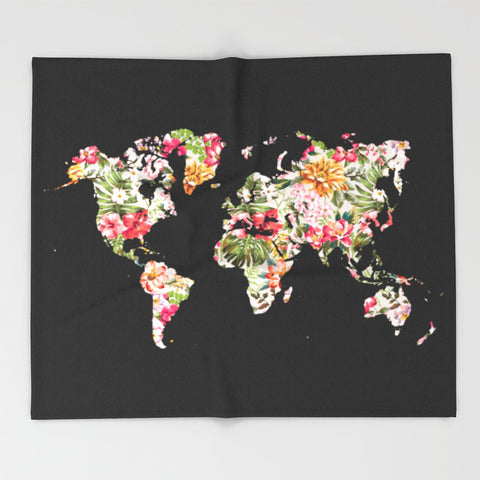 Floral World Map Ultra-Soft Throw Blanket