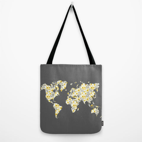 Yellow Floral World Map Tote Bag