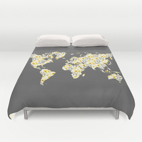 Yellow & Gray Floral World Map Microfiber Duvet Cover