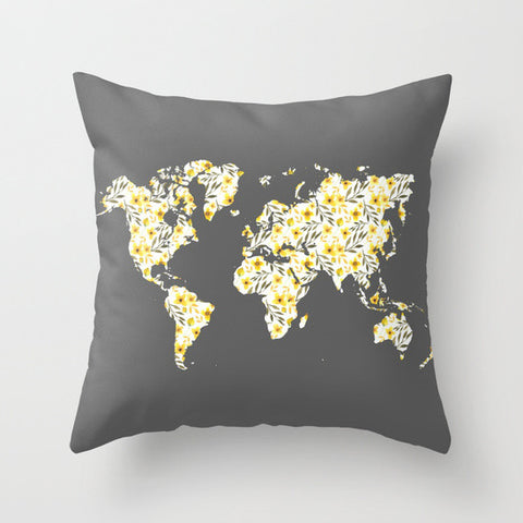 Yellow Floral World Map Throw Pillow