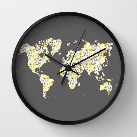 Yellow Floral World Map Wall Clock