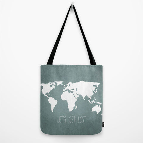 Let's Get Lost World Map Tote Bag