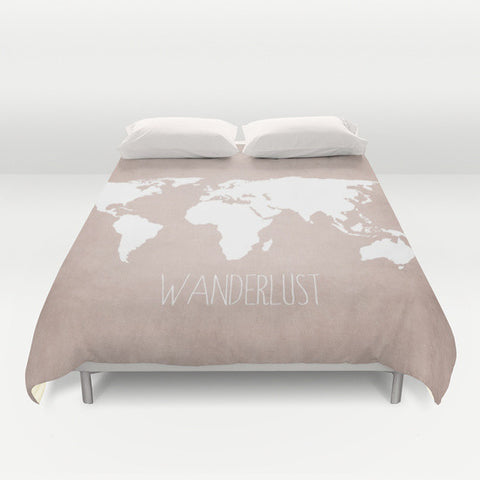 Wanderlust World Map Microfiber Duvet Cover