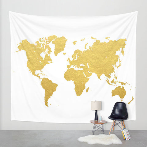 Matte Gold World Map Wall Tapestry