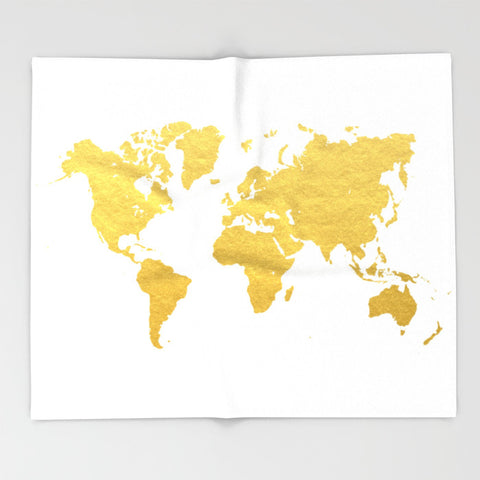 Gold World Map Ultra-Soft Throw Blanket