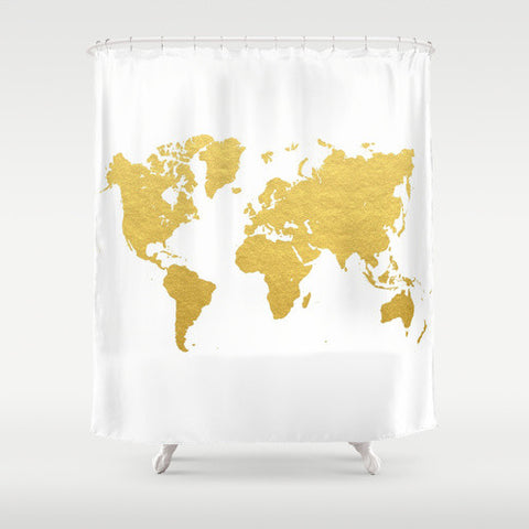 Gold World Map Shower Curtain