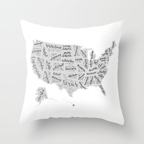 The United States of Lettering Throw Pillow