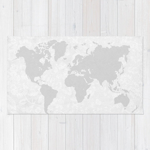 Intricate World Map Area Rug