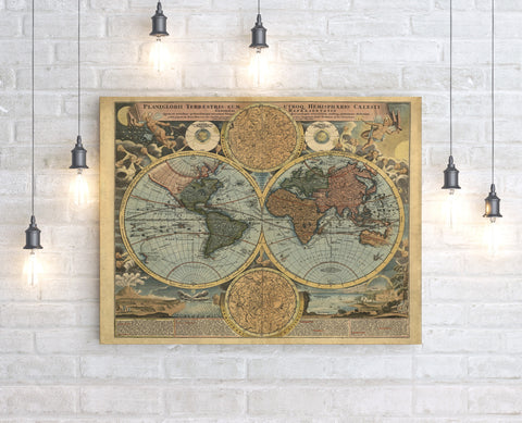Reproduced World Map Canvas - Choose Size