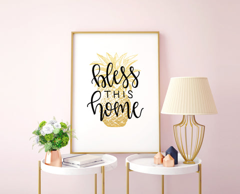 """Bless This Home"" Pineapple Print - Choose Size"