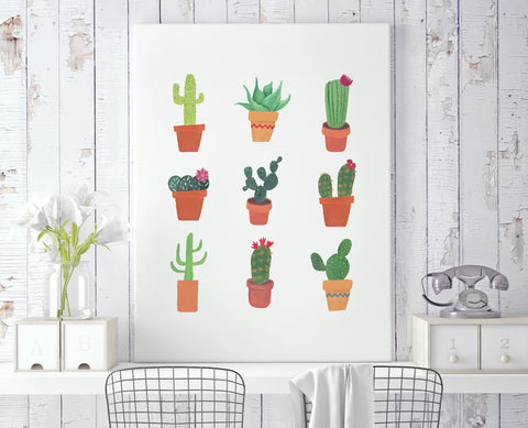 Succulent Chart Canvas - Choose Size