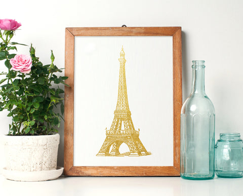 Matte Gold Eiffel Tower Print - Choose Size