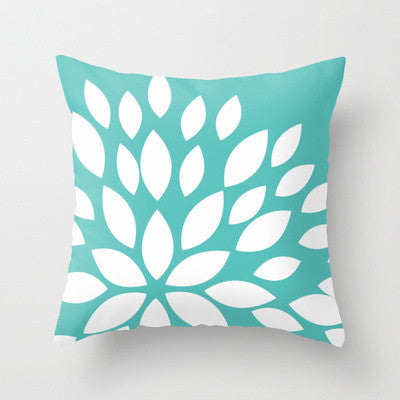 Aqua Flower Throw Pillow