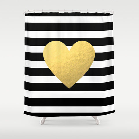 Striped Gold Heart Shower Curtain