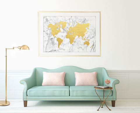 Marble + Gold World Map Print