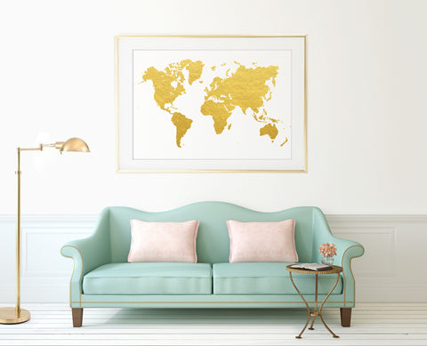 Gold World Map Print - Choose Size
