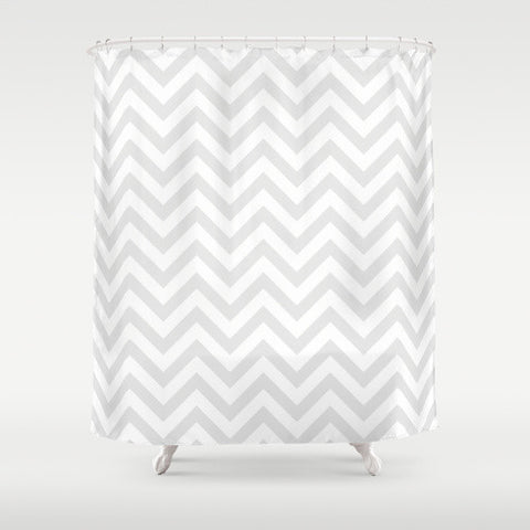 Gray Chevron Shower Curtain