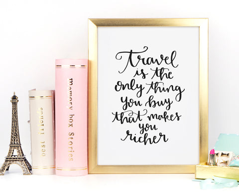Travel is the Only Thing You Buy Print - Choose size