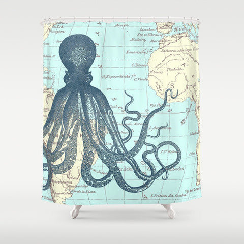 Map Octopus Shower Curtain