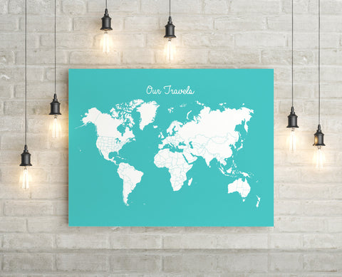 Travel Tracker Canvas World Map (Pins Included) - Choose Size & Color