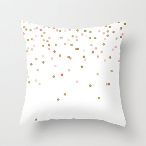 Pink & Gold Confetti Throw Pillow
