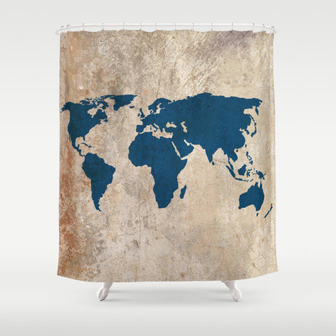 Rustic World Map Shower Curtain