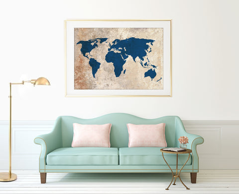 Rustic World Map Print - Choose Size