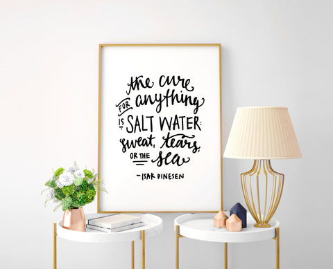 Salt Water Cure Calligraphy Print - Choose size