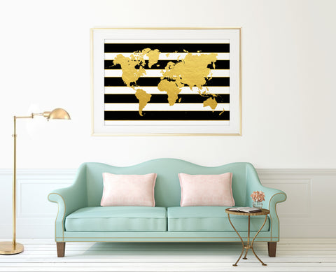 Striped Gold World Map Print - Choose size