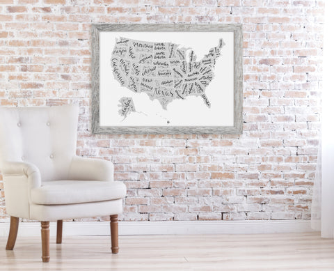 United States of Lettering Print, Calligraphy Map - Choose Size