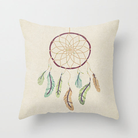 Watercolor Dreamcatcher Throw Pillow