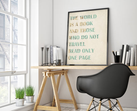 The World is A Book Print - Choose size