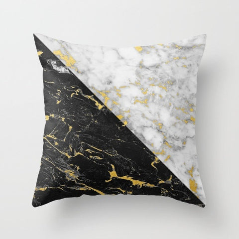 Gold Flecked Marble Geometry Throw Pillow