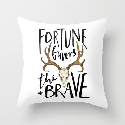 Fortune Favors the Brave Throw Pillow