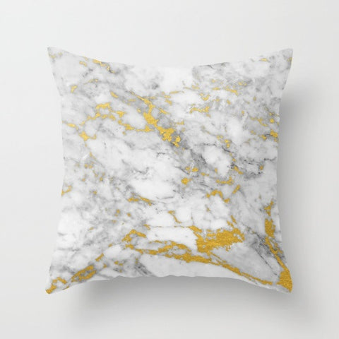Gold Flecked Marble Throw Pillow