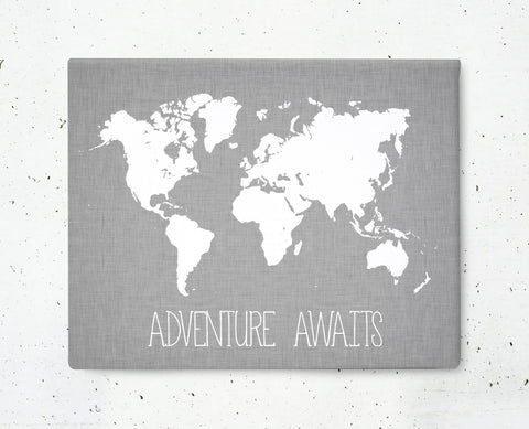 Adventure Awaits World Map Canvas - Choose Size