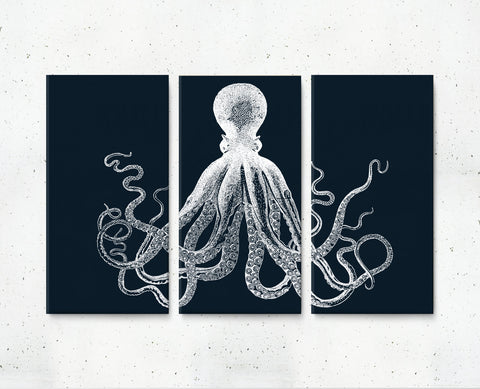 Canvas Octopus Triptych Set of 3 Canvases - Choose size