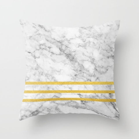 Gold Striped Marble Throw Pillow