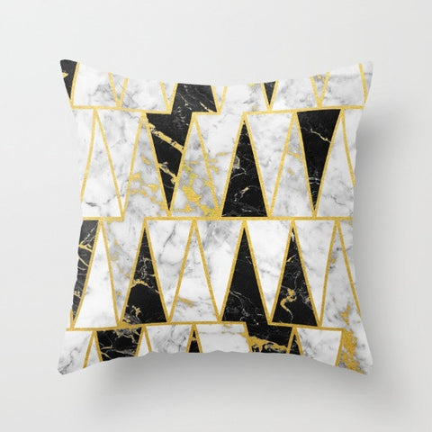 Mixed Marble Gold Flecked Geometric Throw Pillow