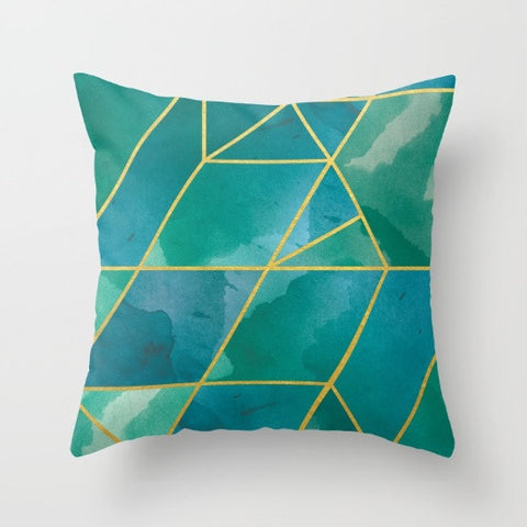 Shattered Emerald + Gold Throw Pillow