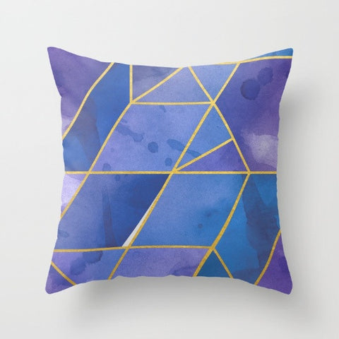 Shattered Sapphire + Gold Throw Pillow
