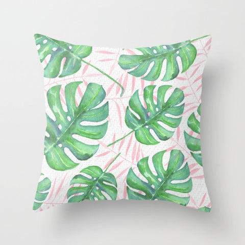 Pink & Tropical Throw Pillow