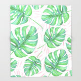 Tropical Pink & Palm Ultra-Soft Throw Blanket