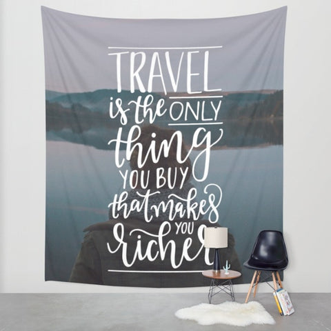Hand Lettered Travel Wall Tapestry