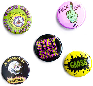 Sick Girls Buttons