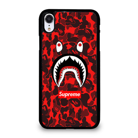 BAPE SHARK SUPREME CAMO RED iPhone XR Case Cover