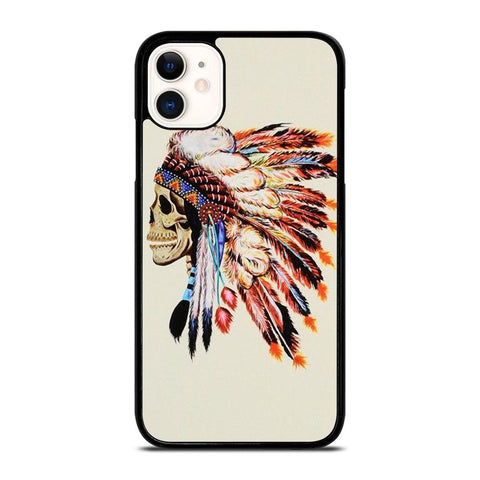 INDIAN FEATHER SKULL-iphone-11-case-cover