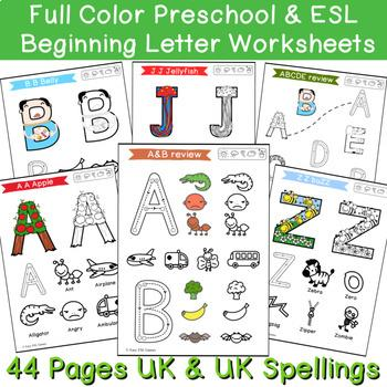 LEEP Beginning Sounds Full Colour Toddler Alphabet Writing and Colouring Pack (44 Pages - Easier)