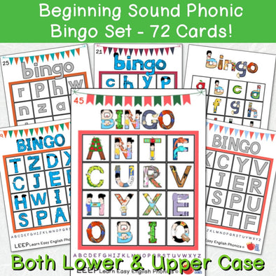 Beginning Sound Alphabet Phonic Bingo Set - 72 Cards - Easy ESL Shop